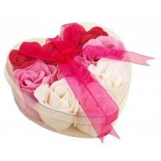 Pink & White Rose Flower Soap - Heart Shaped Gift Set